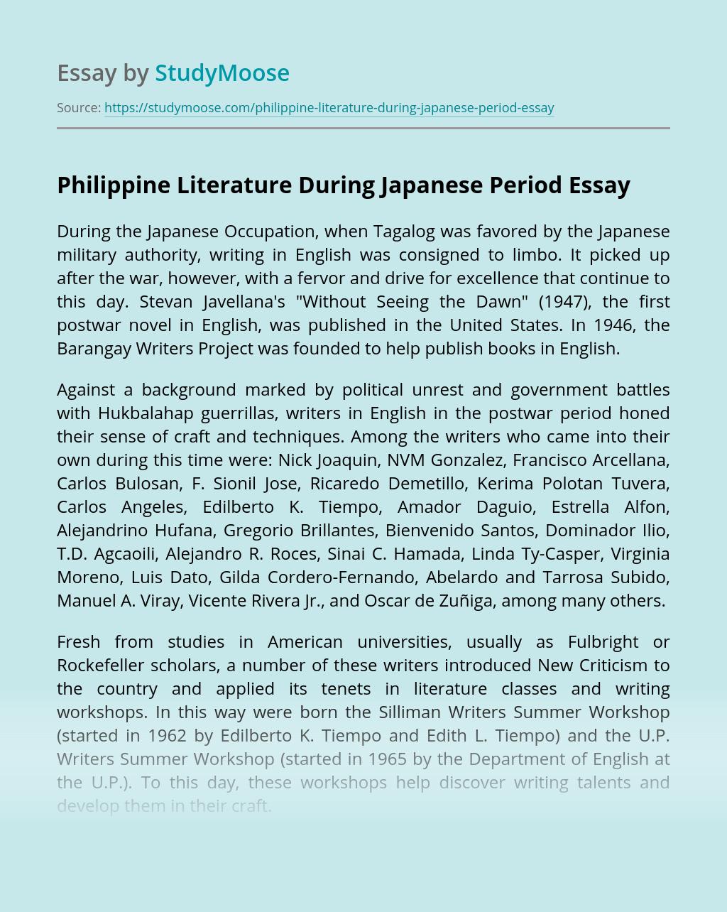Philippine Literature During Japanese Period