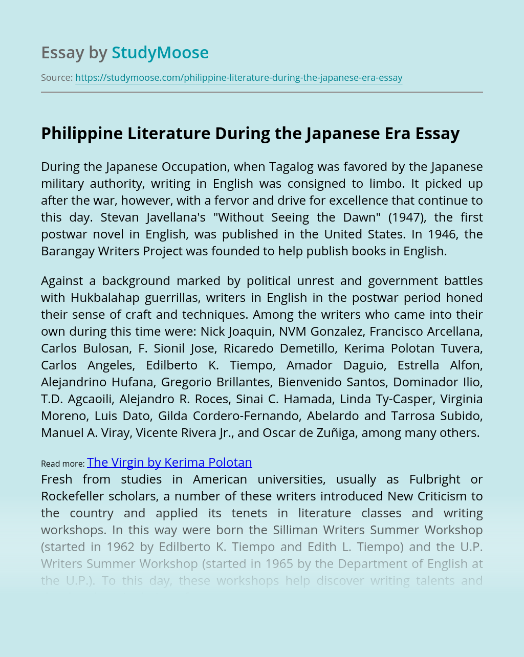 Philippine Literature During the Japanese Era