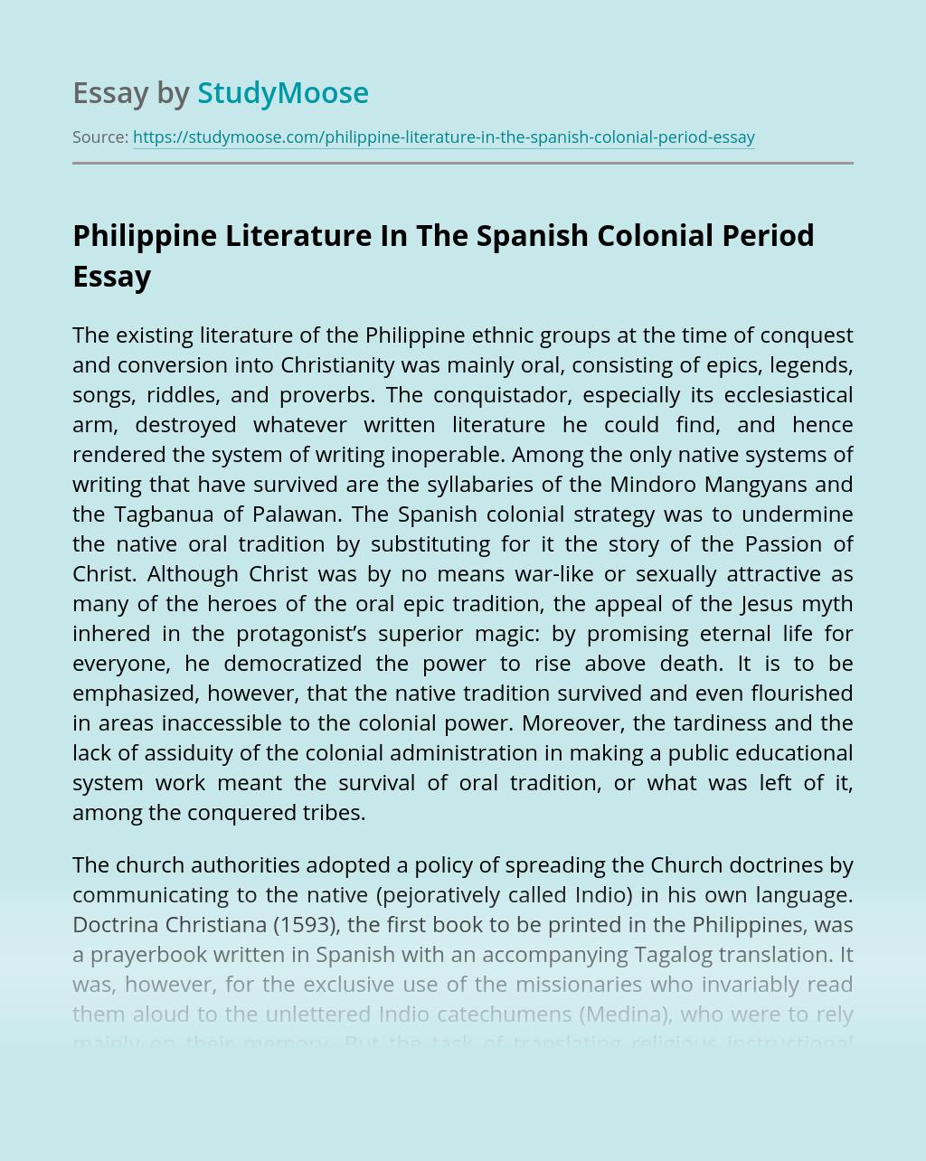 Philippine Literature In The Spanish Colonial Period