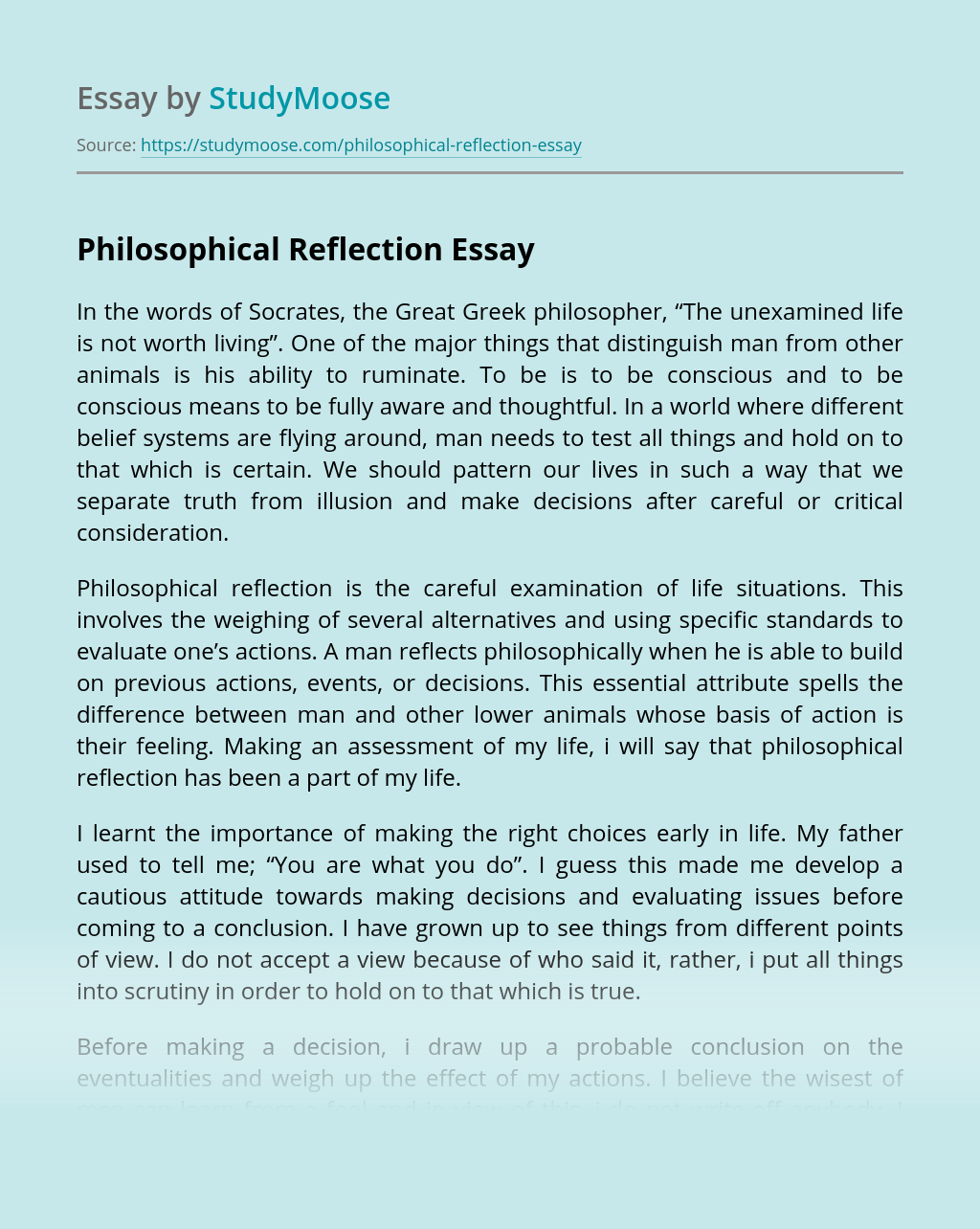 Philosophical Reflection