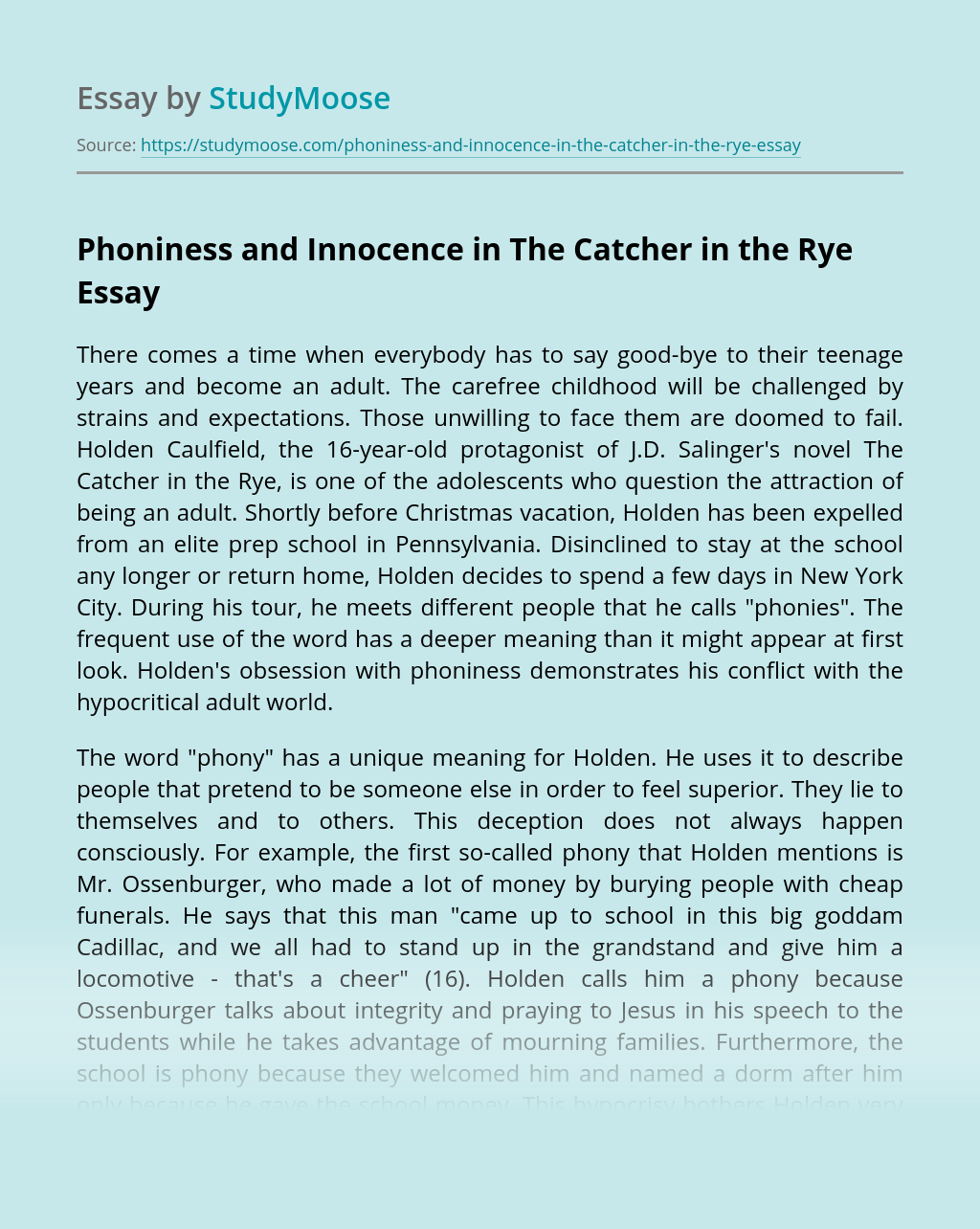 Phoniness and Innocence in The Catcher in the Rye