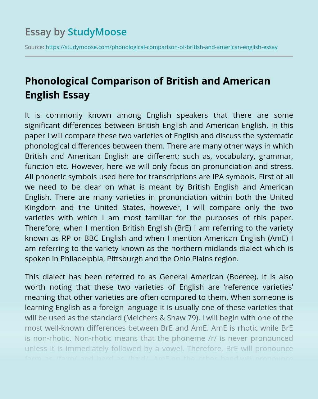 Phonological Comparison Of British And American English Free Essay