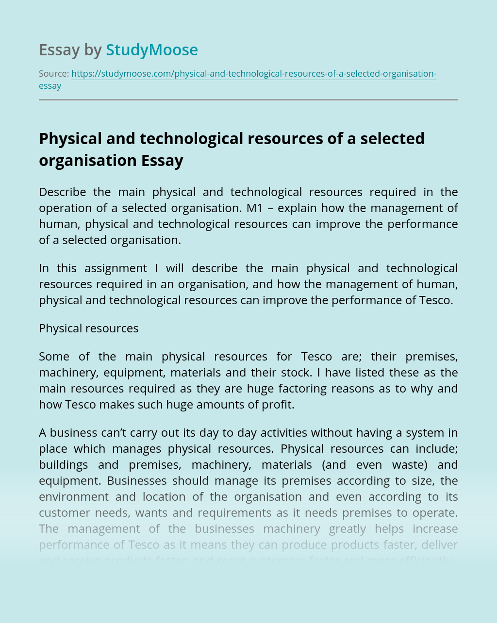 Physical and technological resources of a selected organisation
