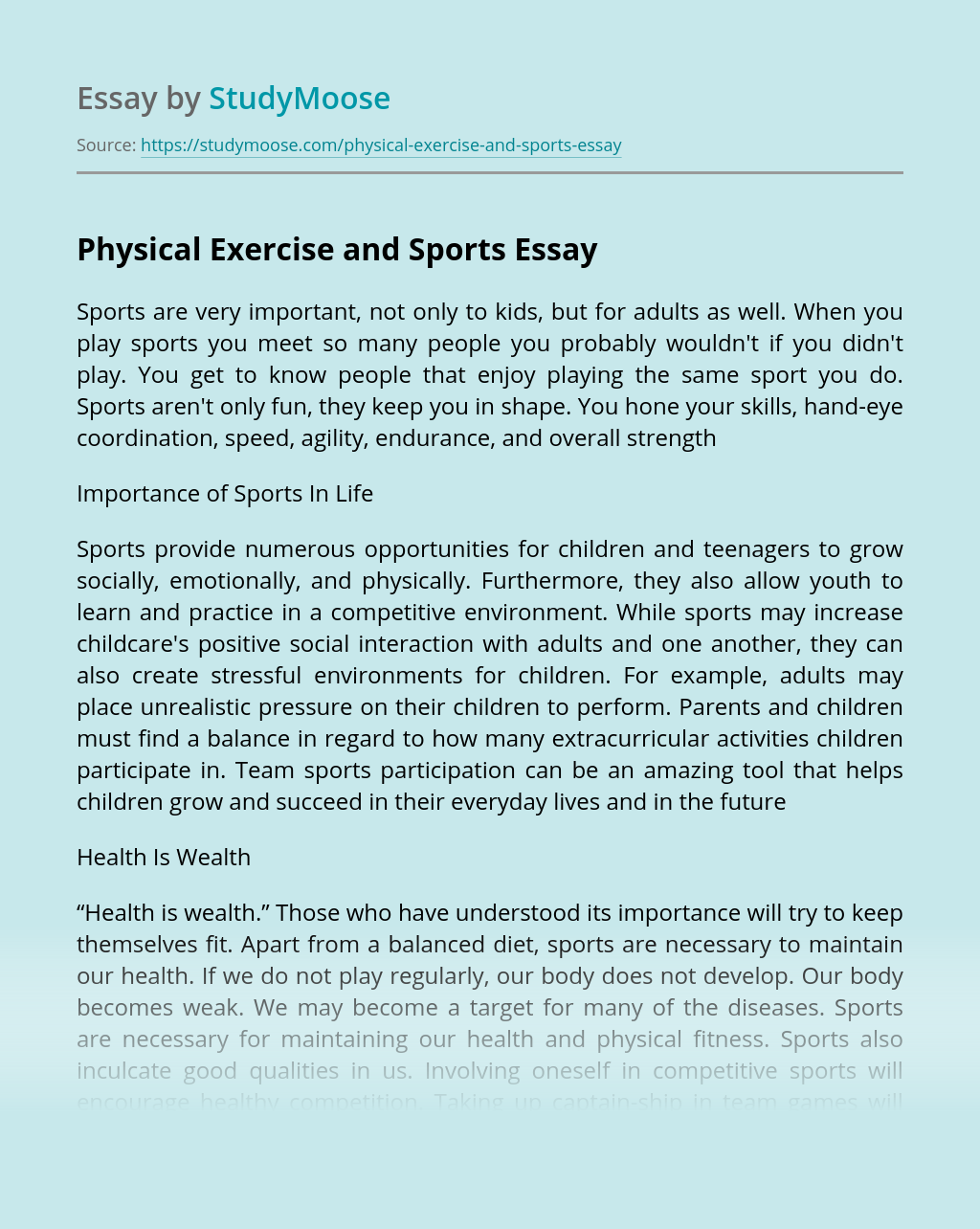 Physical Exercise and Sports
