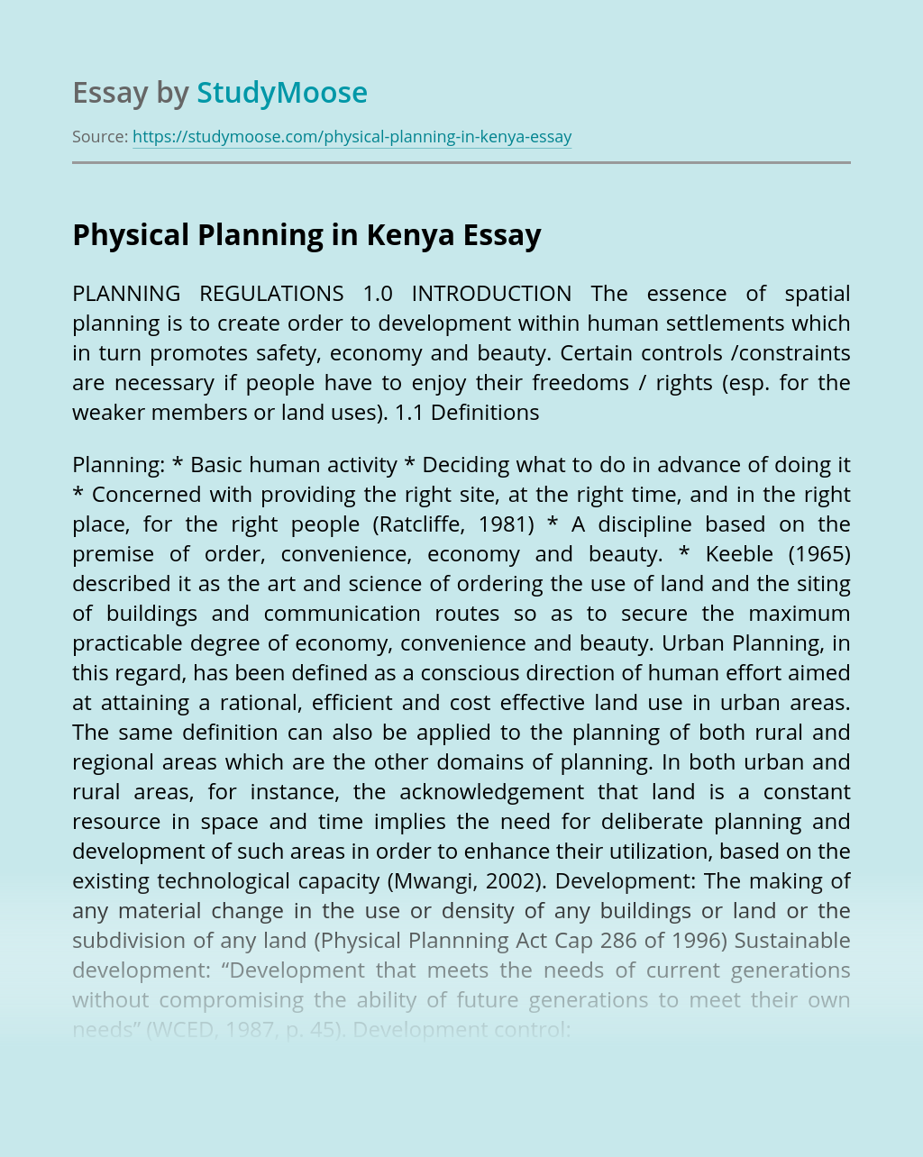 Physical Planning in Kenya