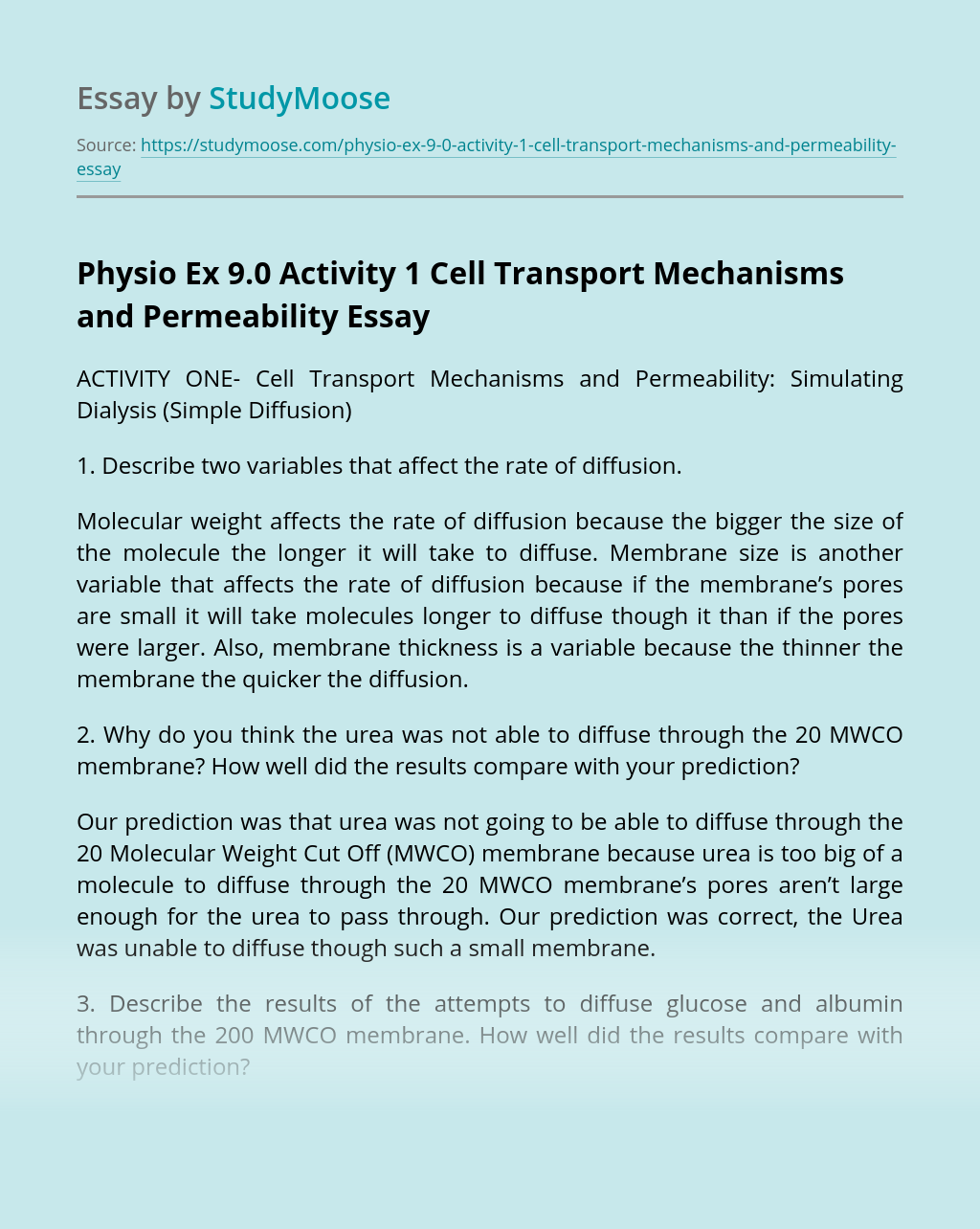 Physio Ex 9.0 Activity 1 Cell Transport Mechanisms and Permeability