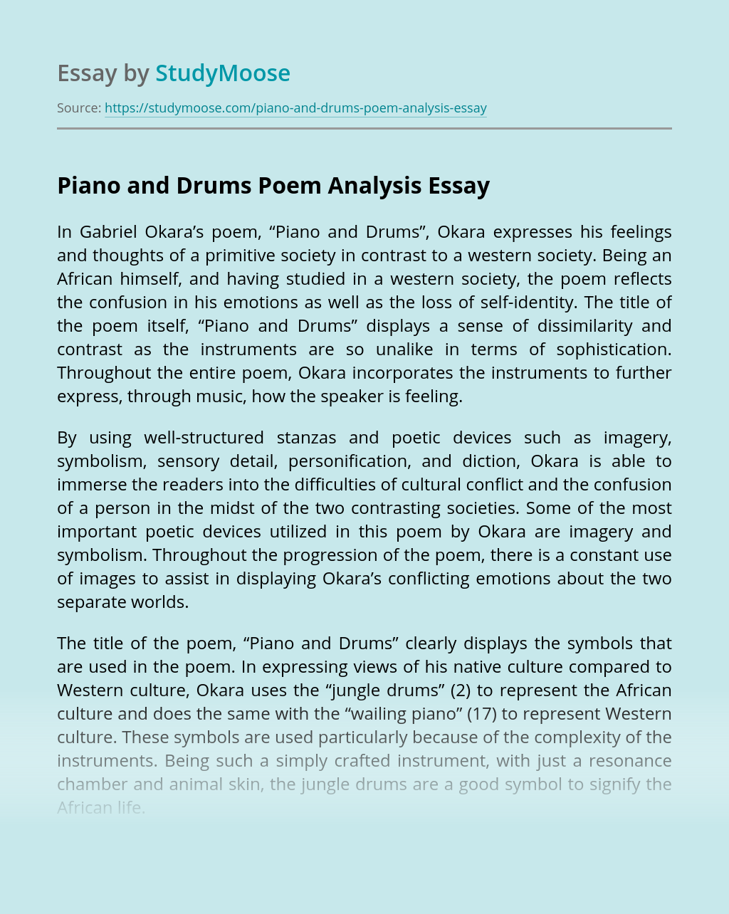 """""""Piano and Drums"""" Poem Analysis"""