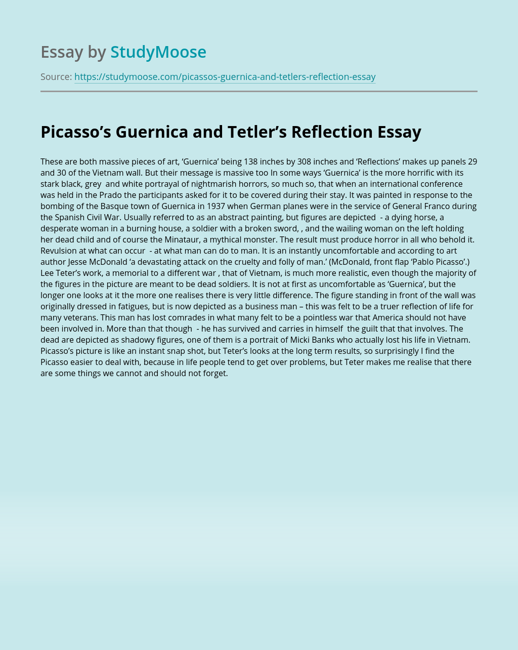 Picasso's Guernica and Tetler's Reflection