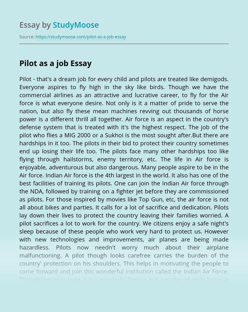 Pilot as a job