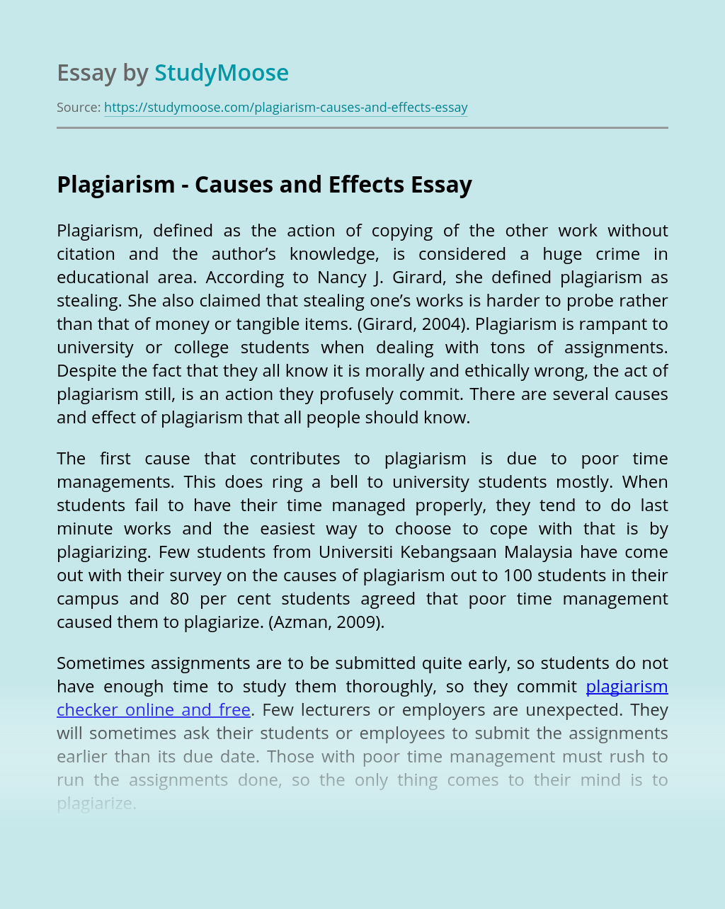Plagiarism - Causes and Effects