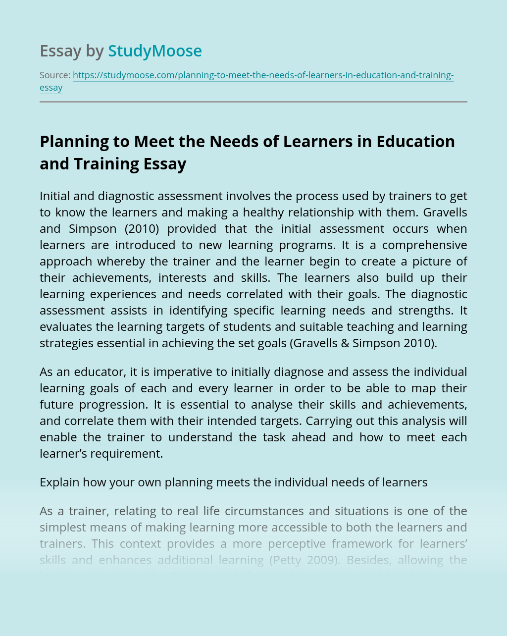 Planning to Meet the Needs of Learners in Education and Training