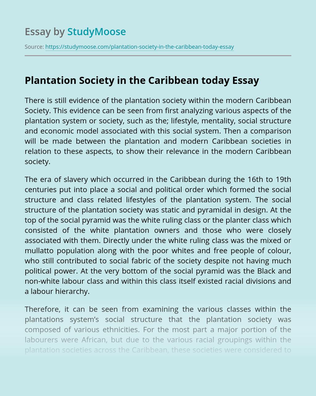 Plantation Society in the Caribbean today