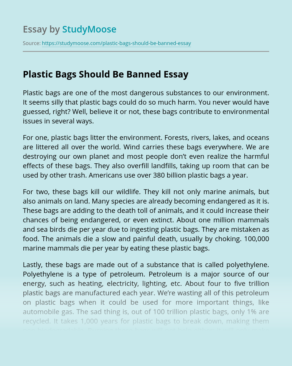 Plastic Bags Should Be Banned