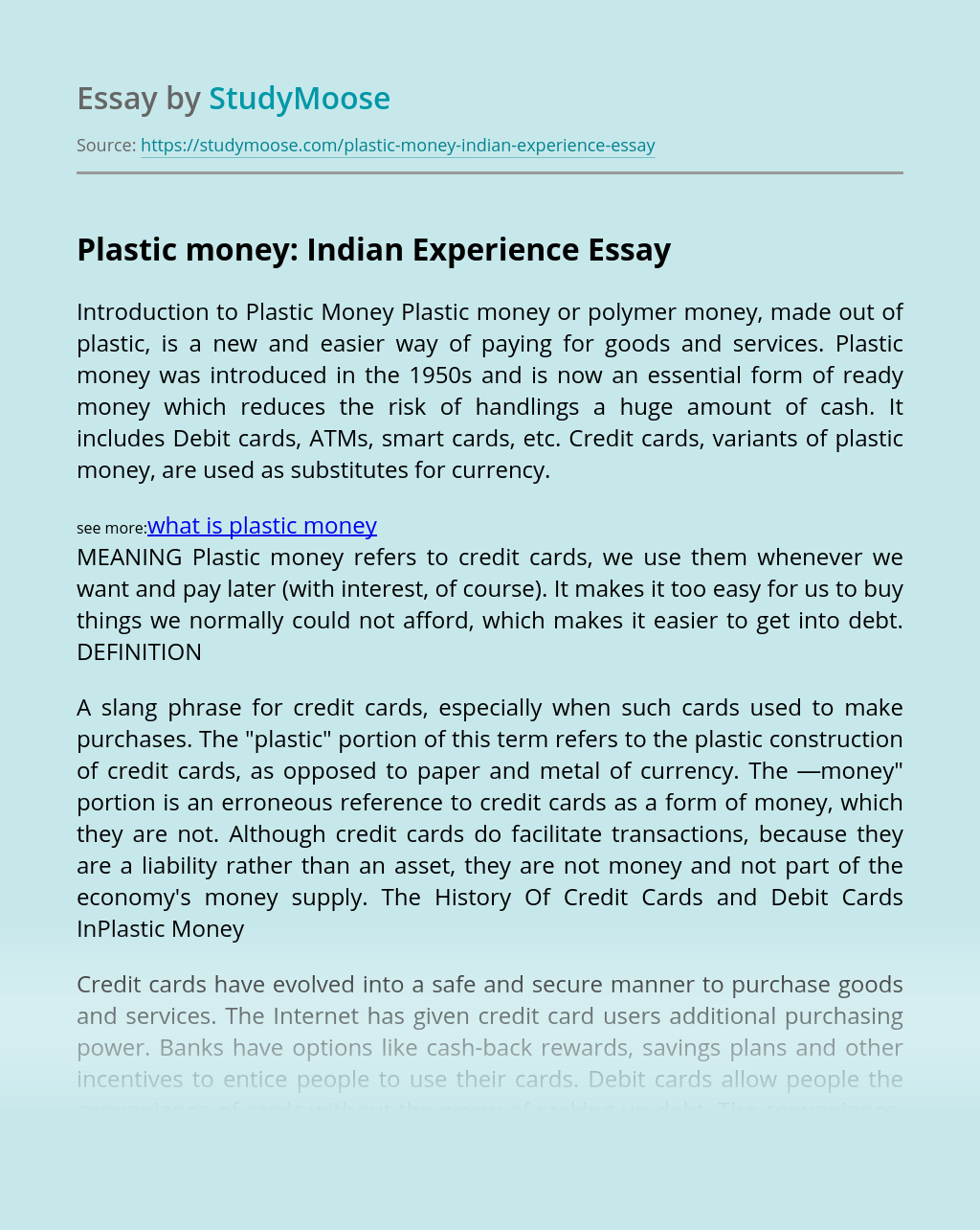 Plastic money: Indian Experience