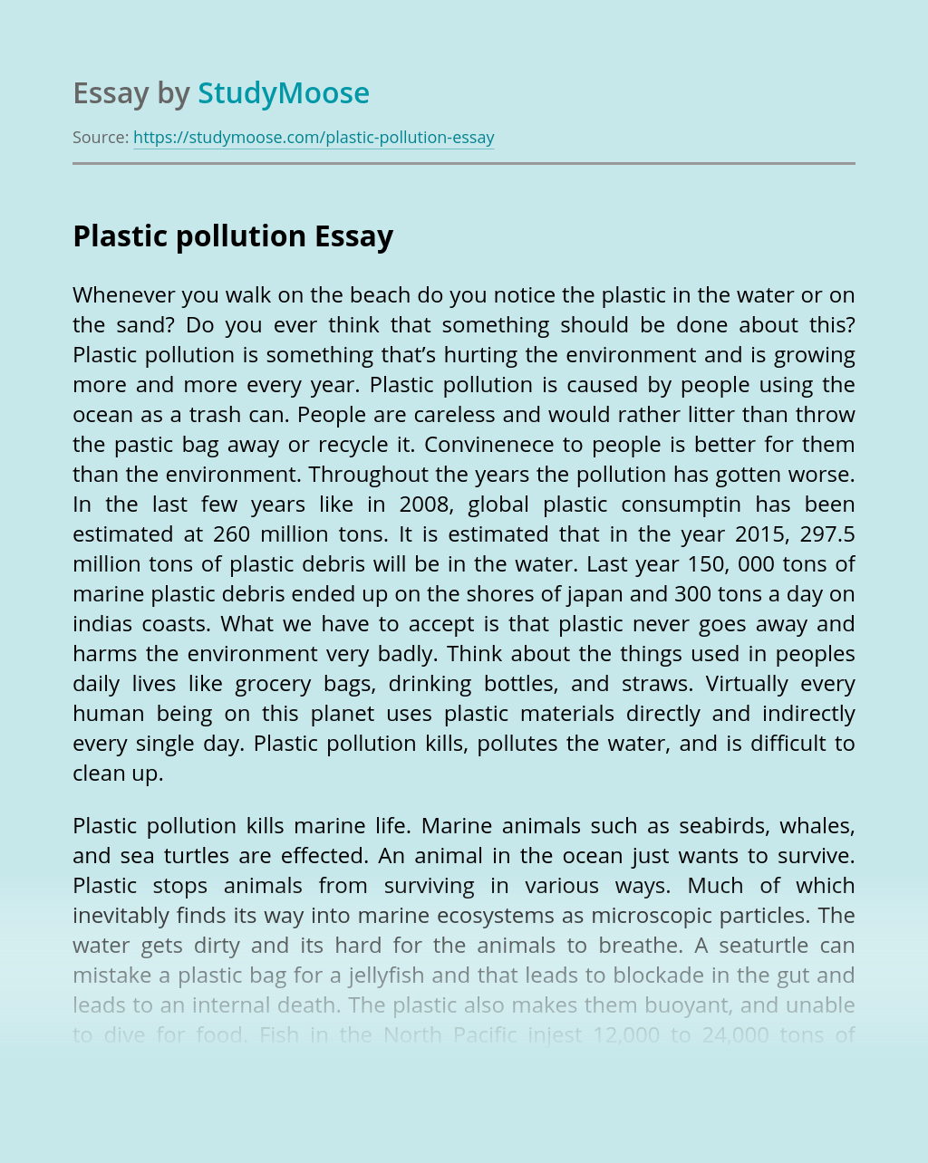 Free essay on plastic pollution how to write an analyzation of a poem