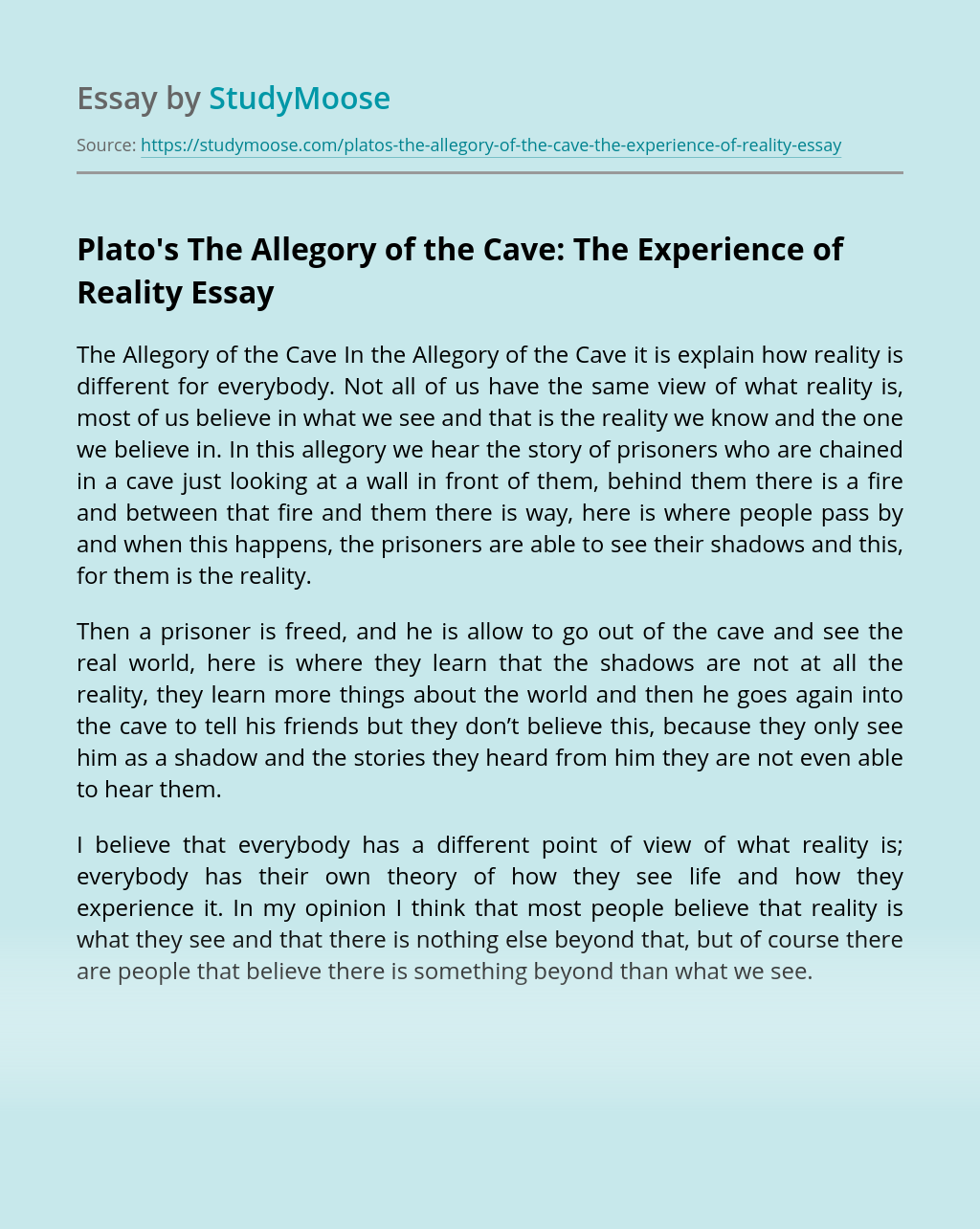 Plato's The Allegory of the Cave: The Experience of Reality