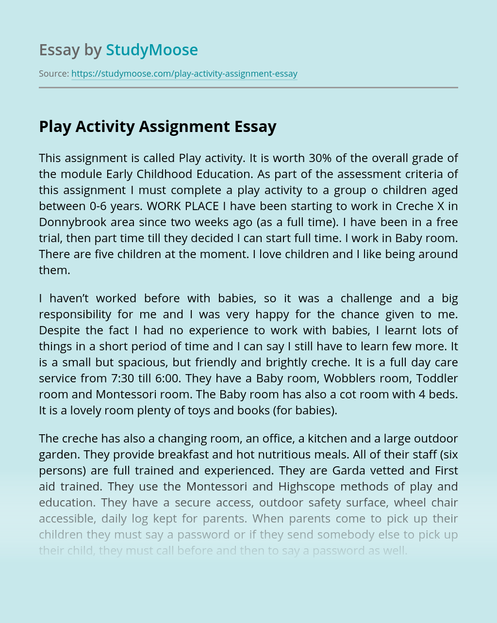 Play Activity Assignment