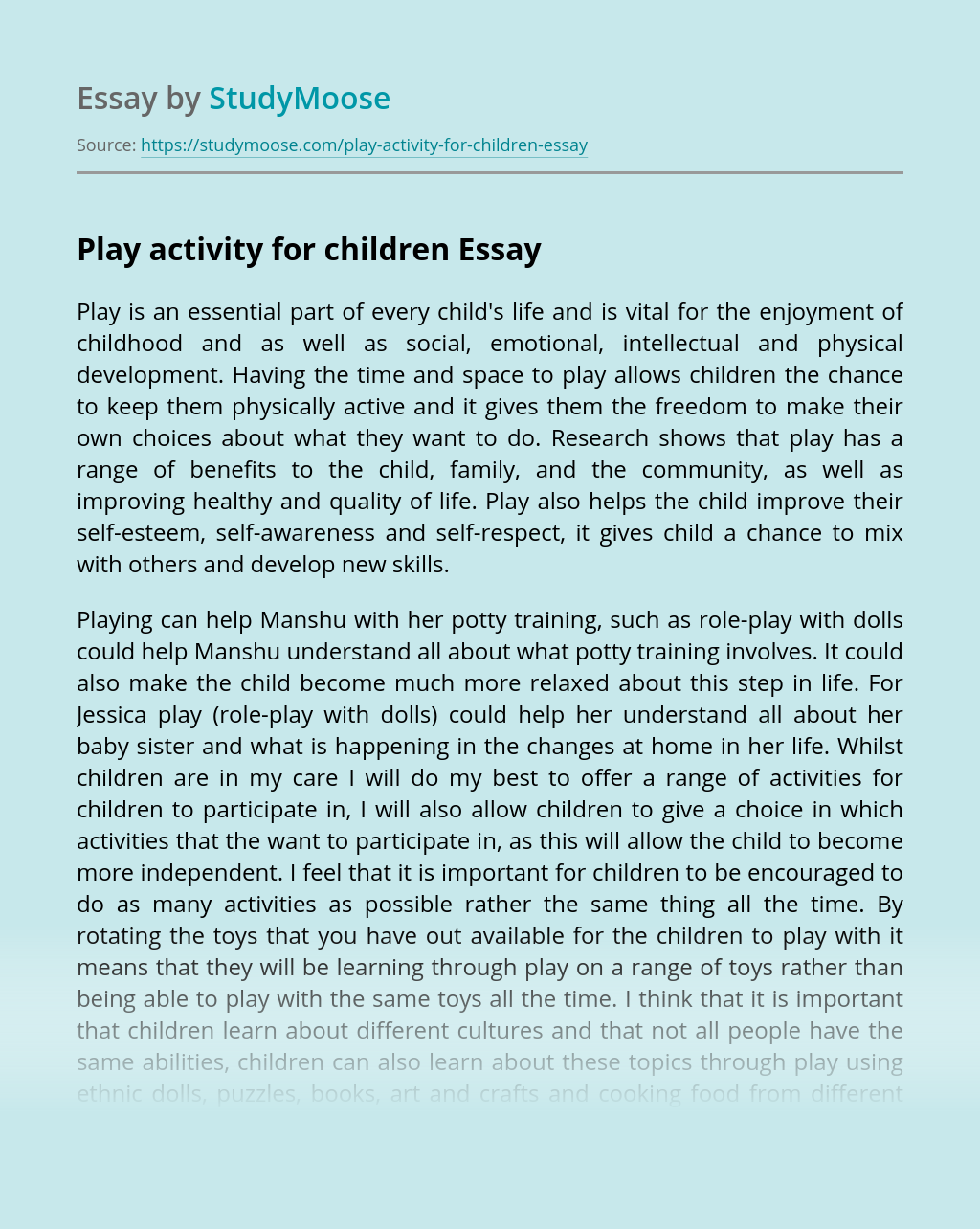 Play activity for children