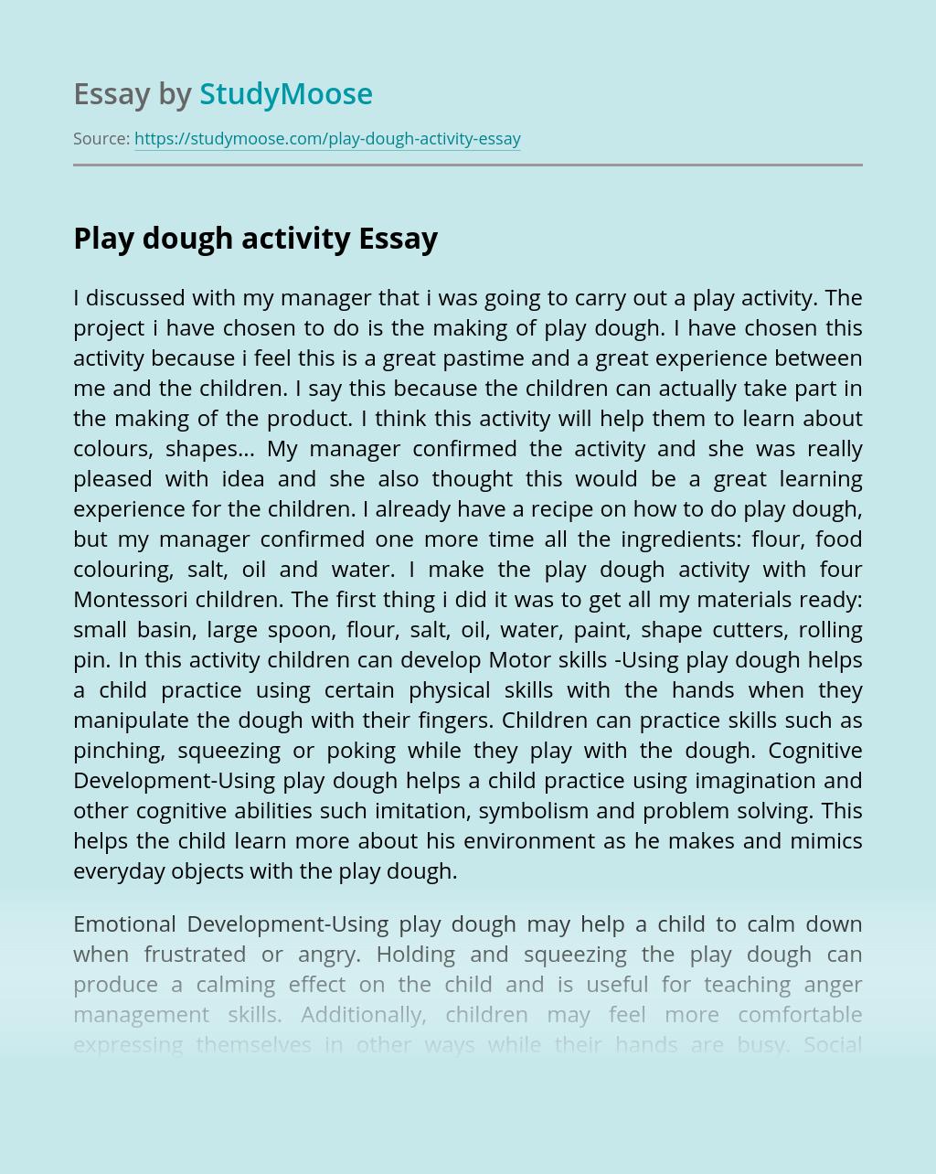 Play dough activity
