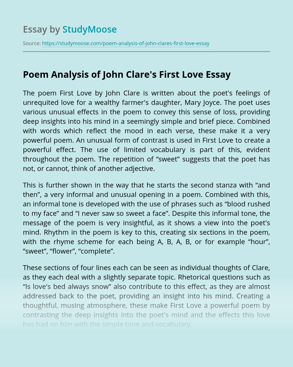 Poem Analysis of John Clare's First Love