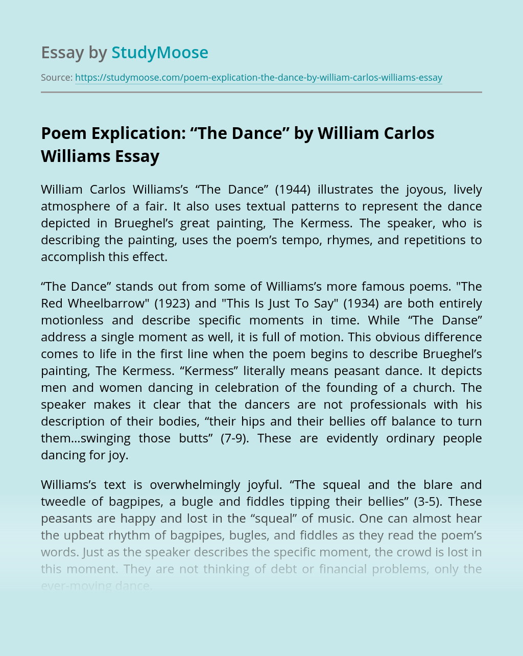"""Poem Explication: """"The Dance"""" by William Carlos Williams"""