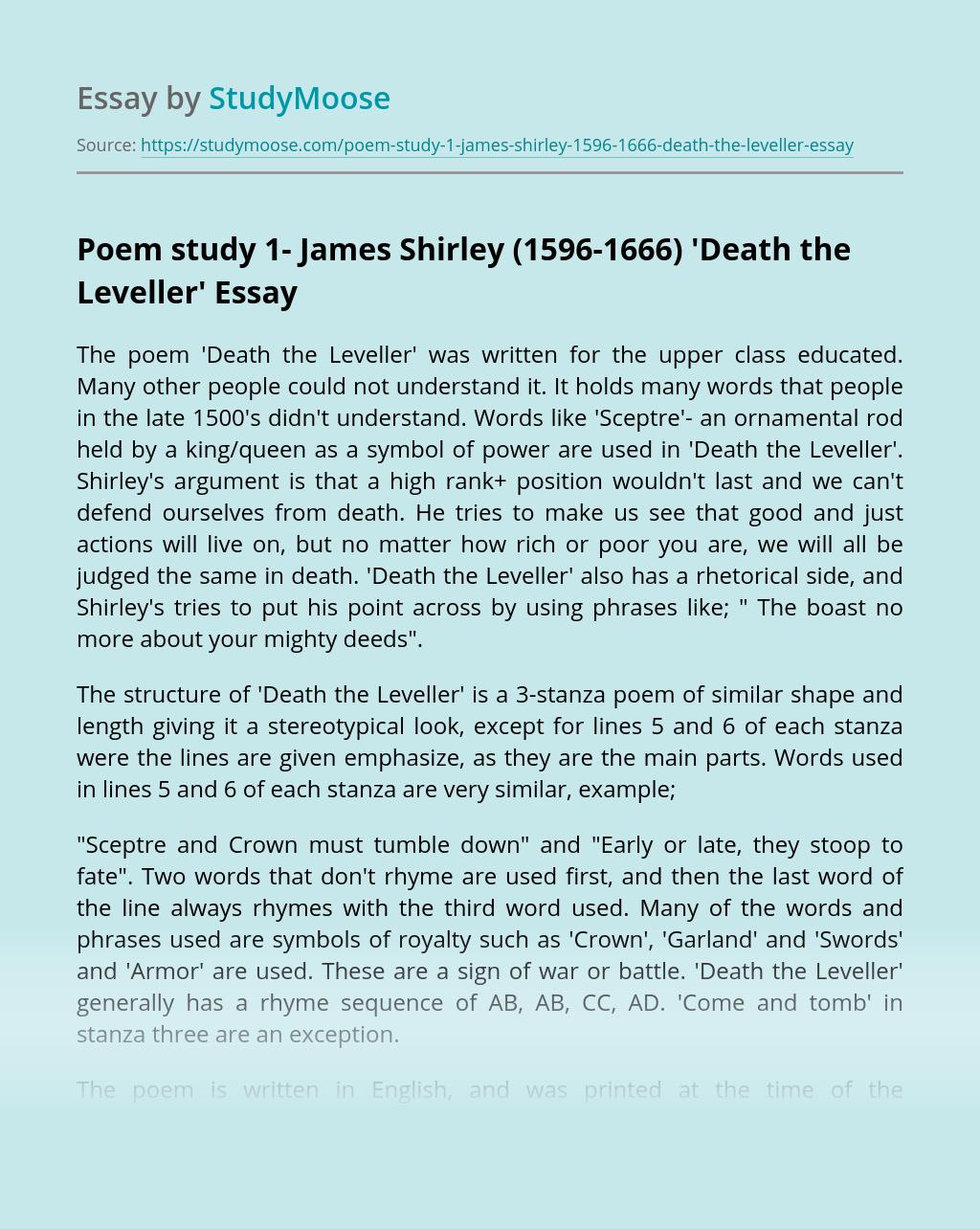 Poem study 1- James Shirley (1596-1666) 'Death the Leveller'