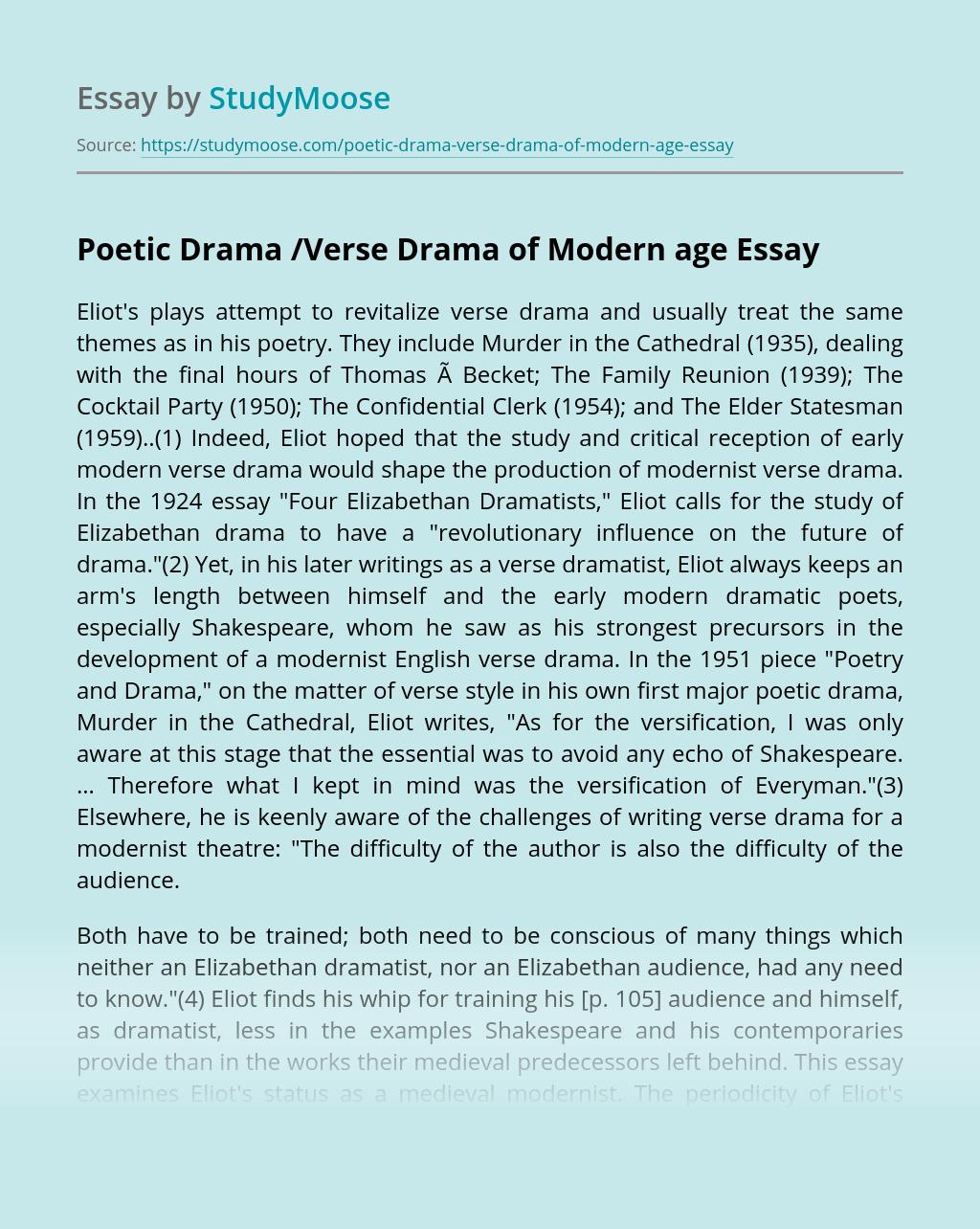 Poetic Drama /Verse Drama of Modern age