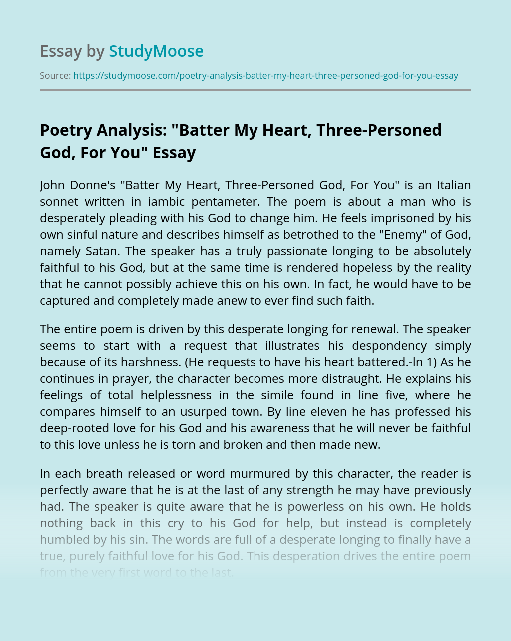 """Poetry Analysis: """"Batter My Heart, Three-Personed God, For You"""""""