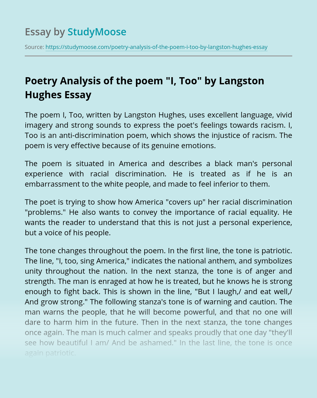 Poetry Analysis of the poem
