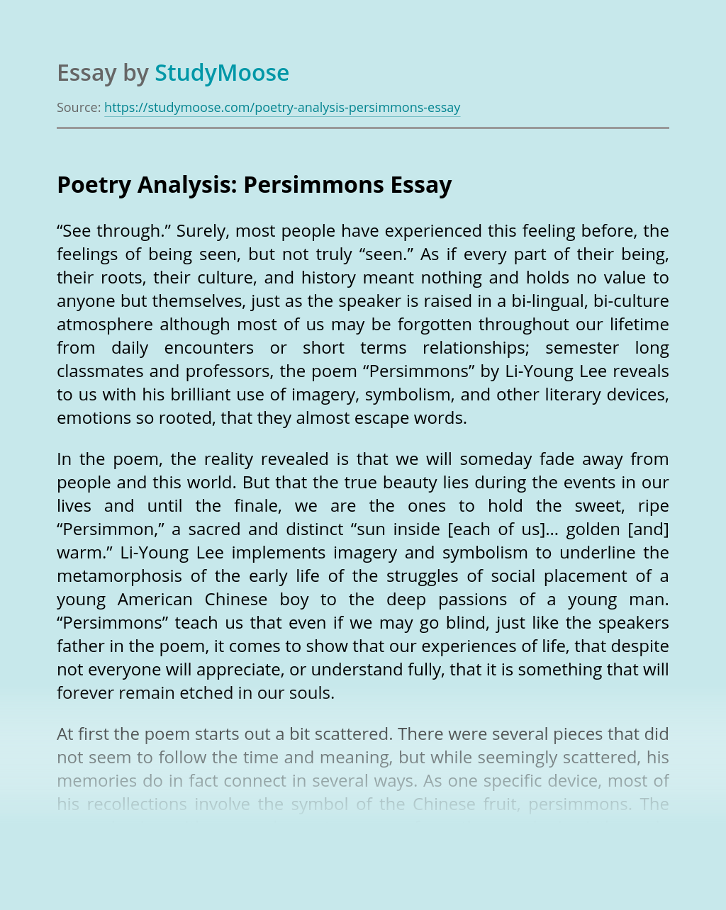Poetry Analysis: Persimmons
