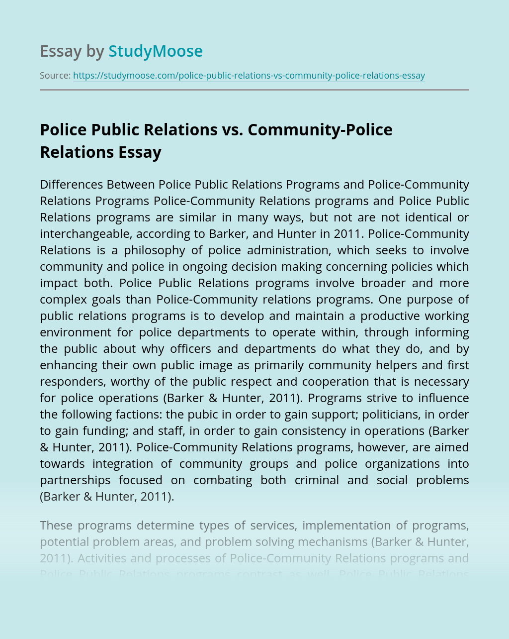 Police Public Relations vs. Community-Police Relations