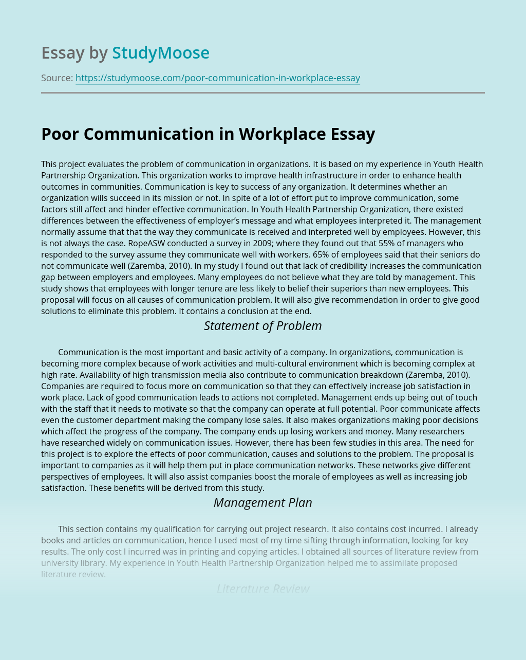 Poor Communication in Workplace