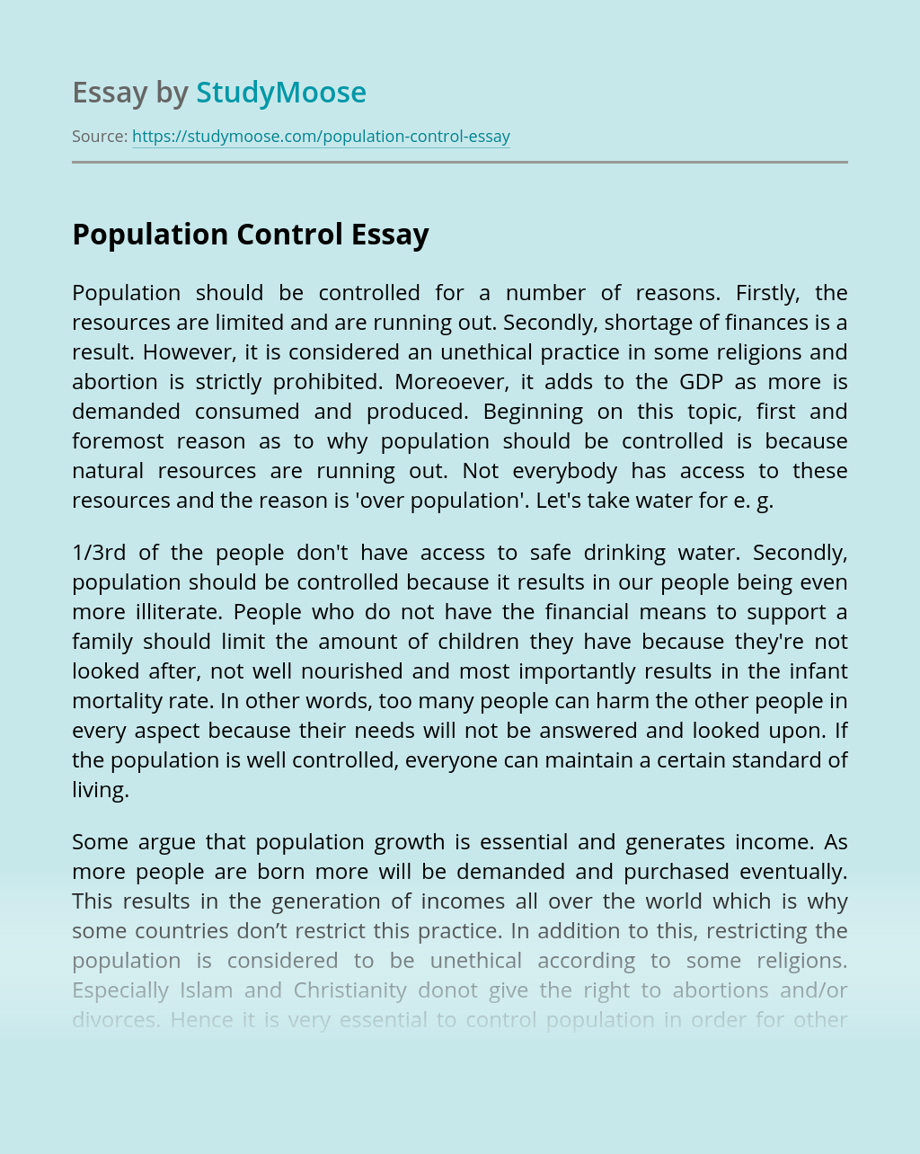 population introduction essay