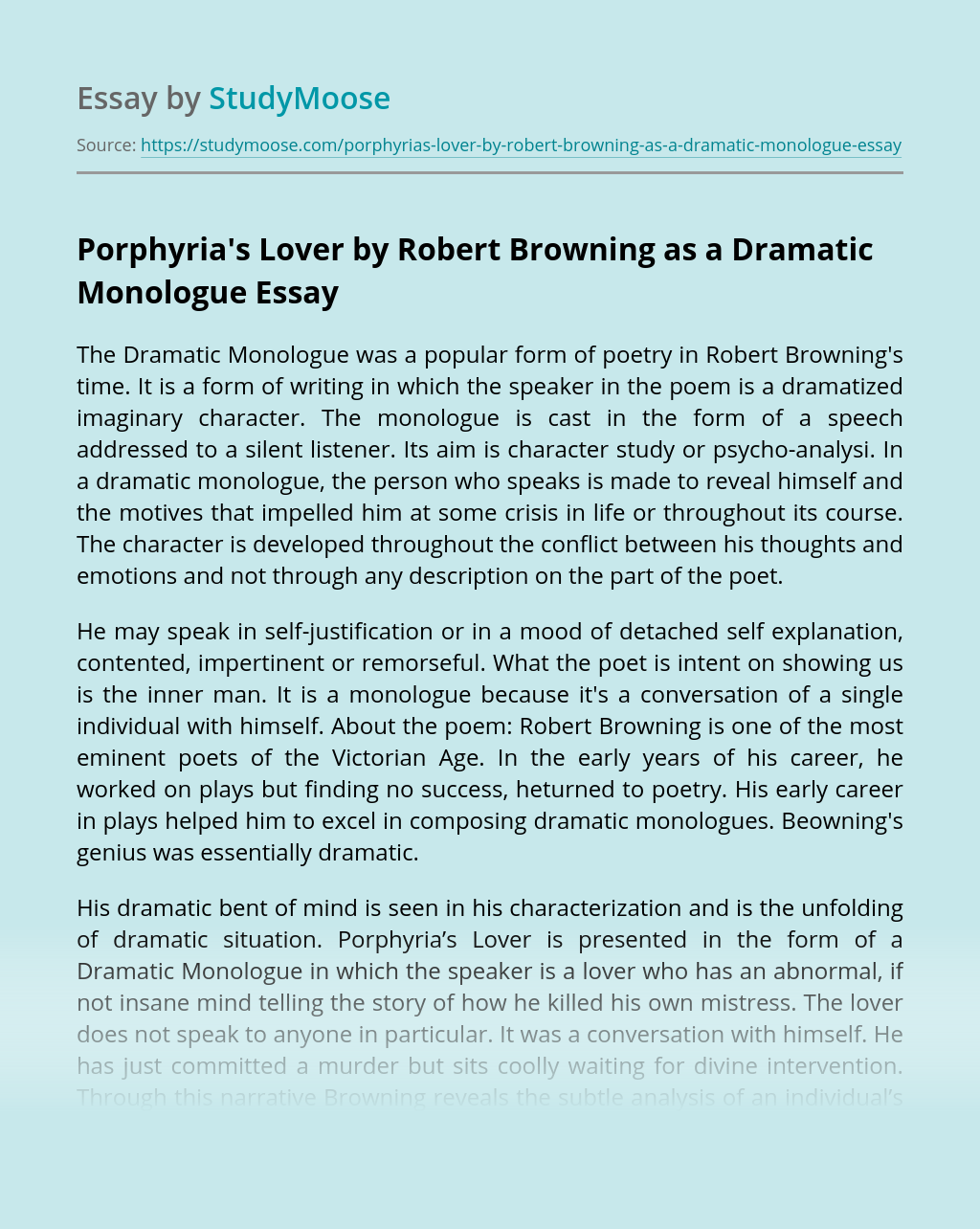 Porphyria's Lover by Robert Browning as a Dramatic Monologue