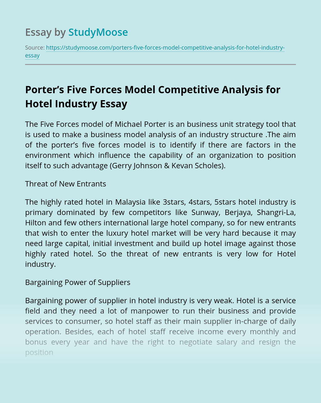 Porter's Five Forces Model Competitive Analysis for Hotel Industry