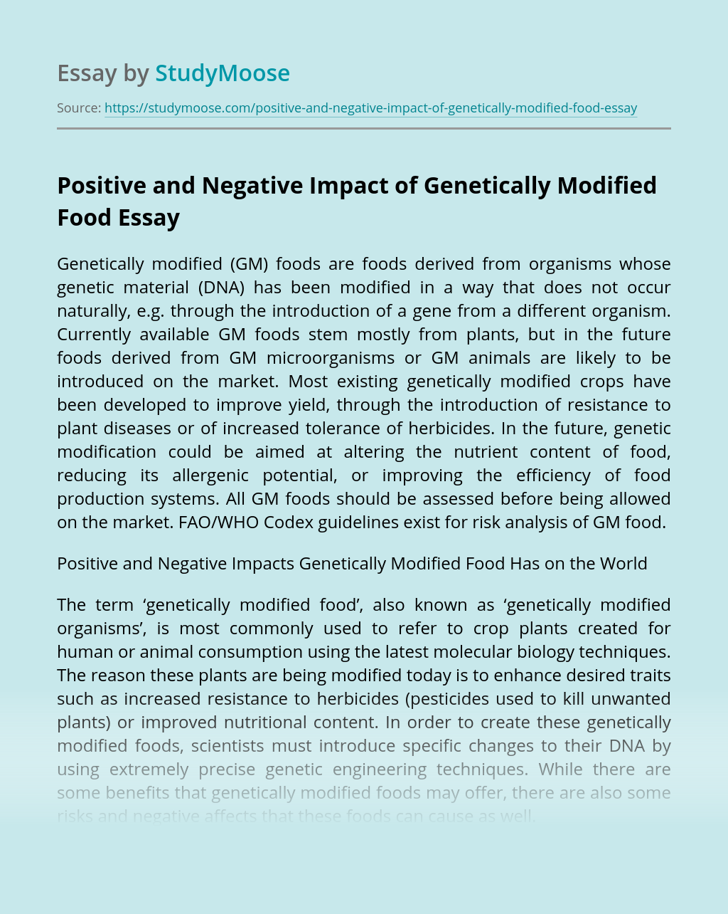 Positive and Negative Impact of Genetically Modified Food