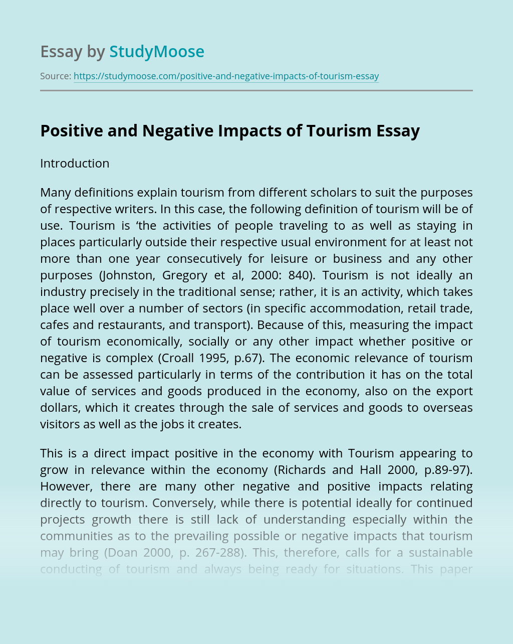 Positive and Negative Impacts of Tourism