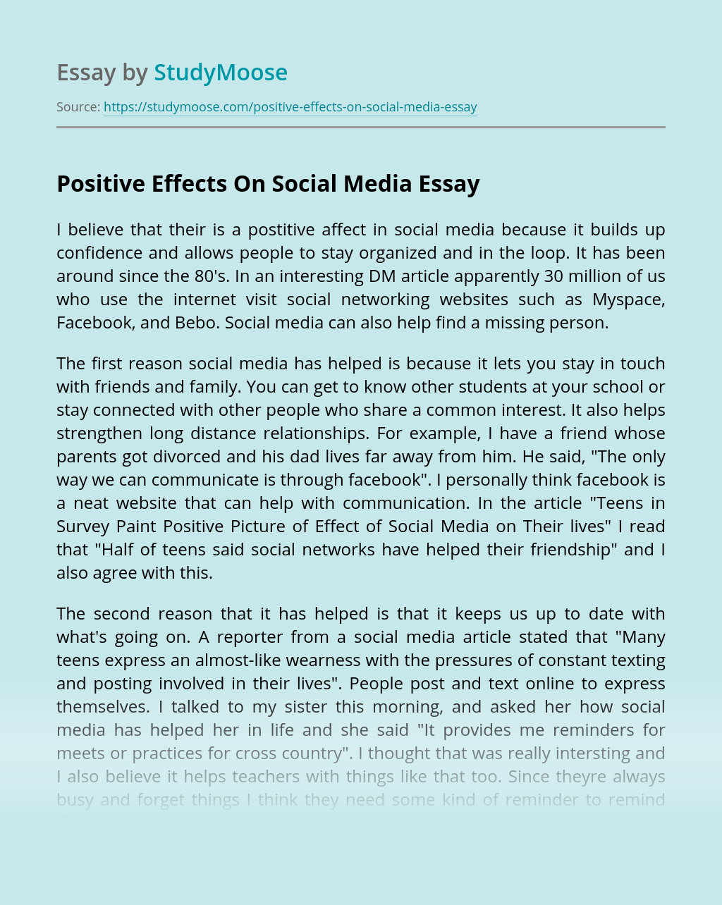 Positive Effects On Social Media