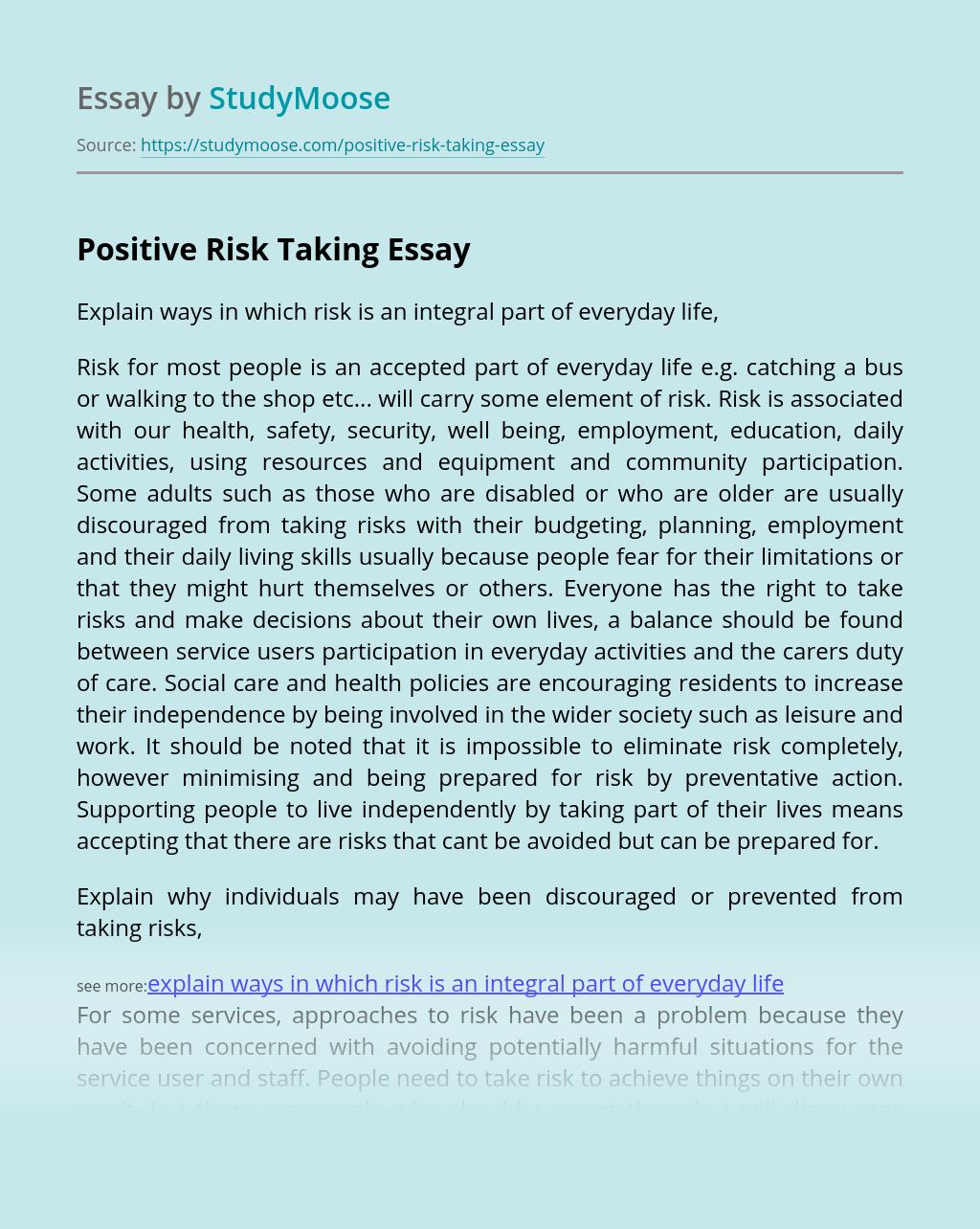 Positive Risk Taking