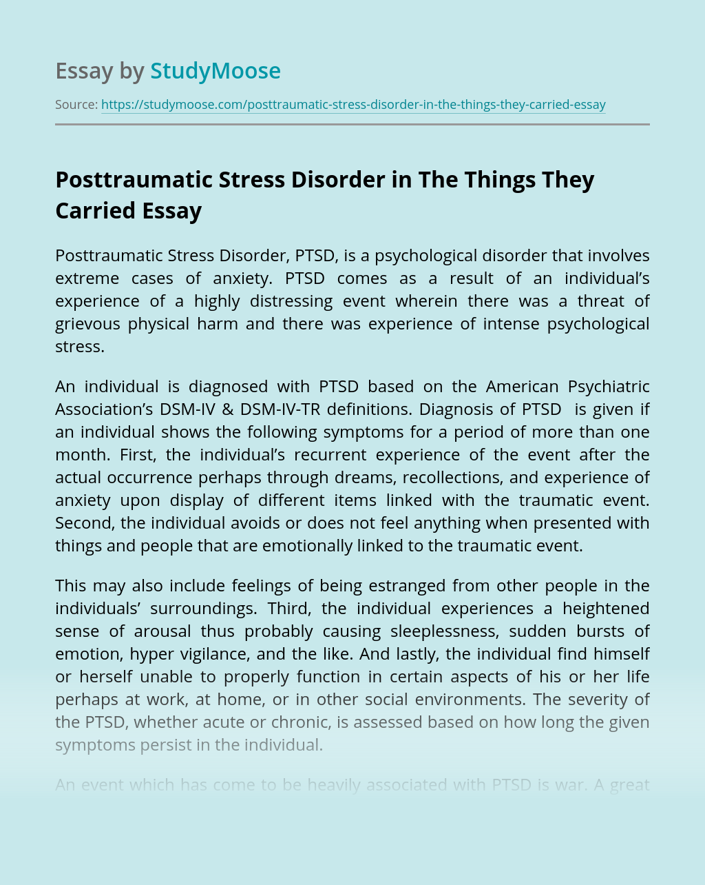 Posttraumatic Stress Disorder in The Things They Carried