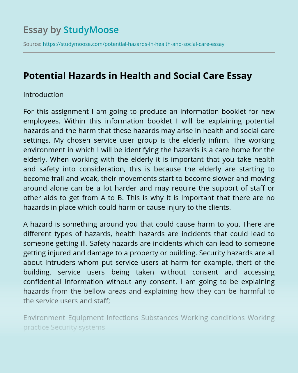 Potential Hazards in Health and Social Care