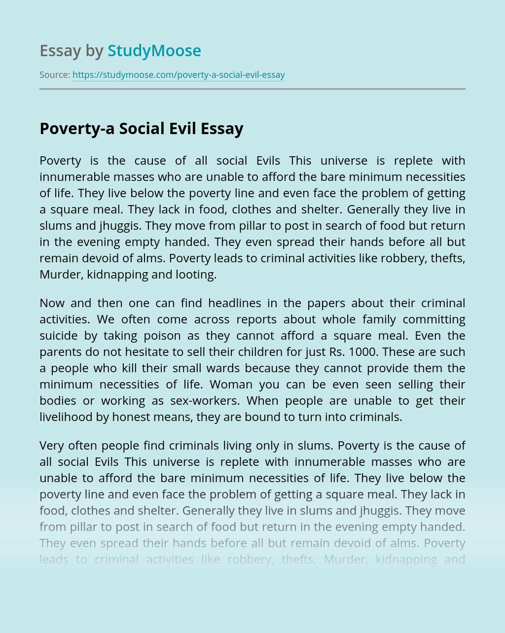 Poverty-a Social Evil