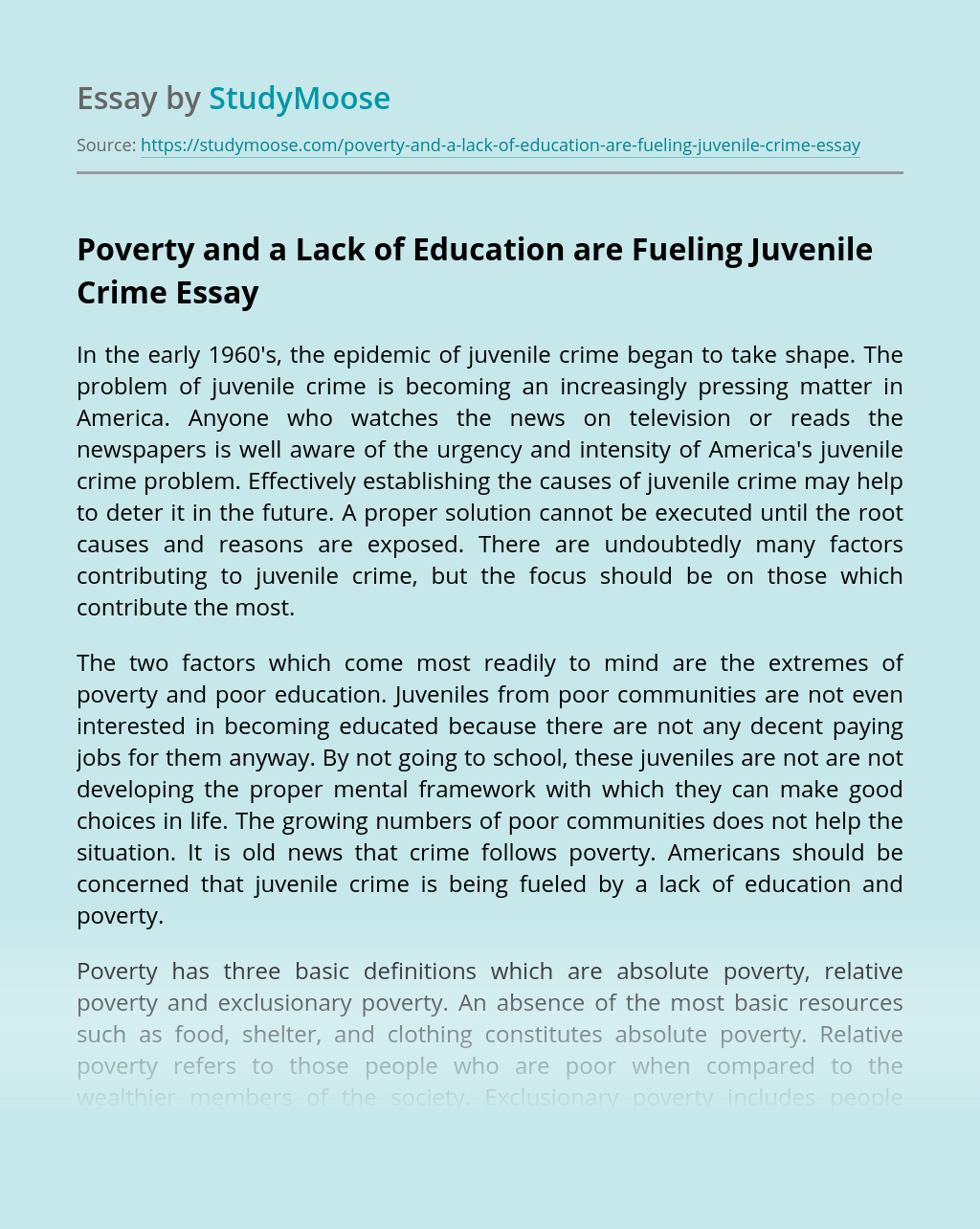 Poverty and a Lack of Education are Fueling Juvenile Crime