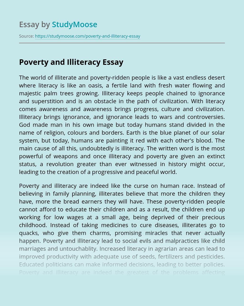 poverty and illiteracy essay example