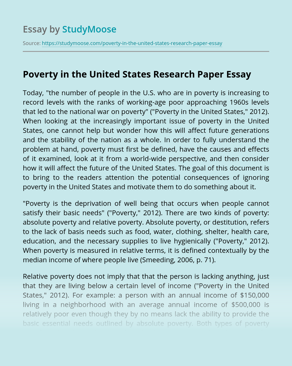 Poverty in the United States Research Paper