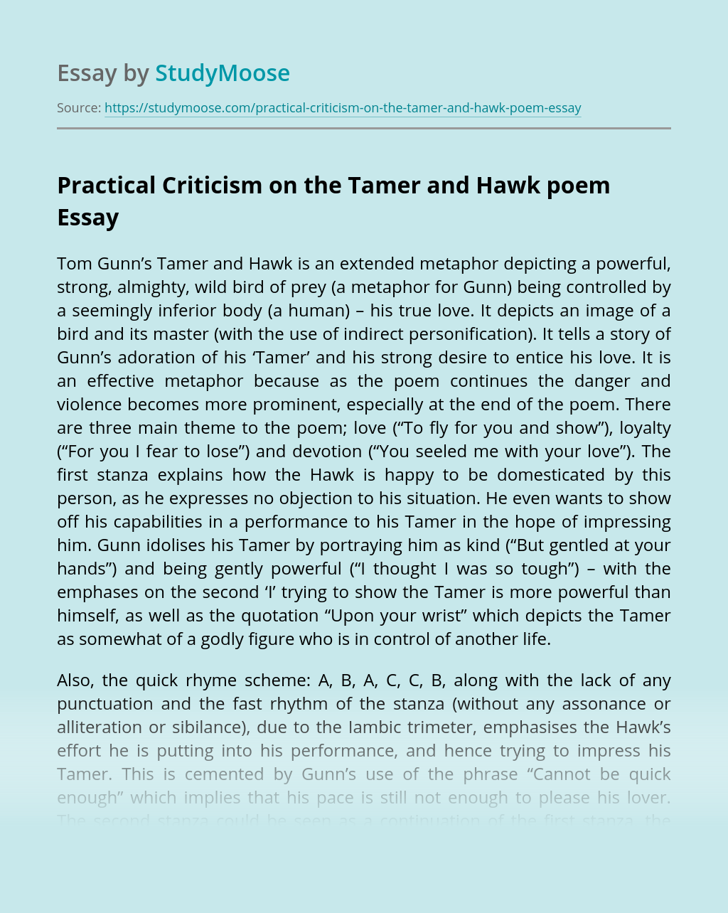 Practical Criticism on the Tamer and Hawk poem