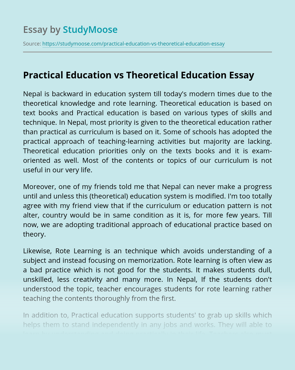 Practical Education vs Theoretical Education