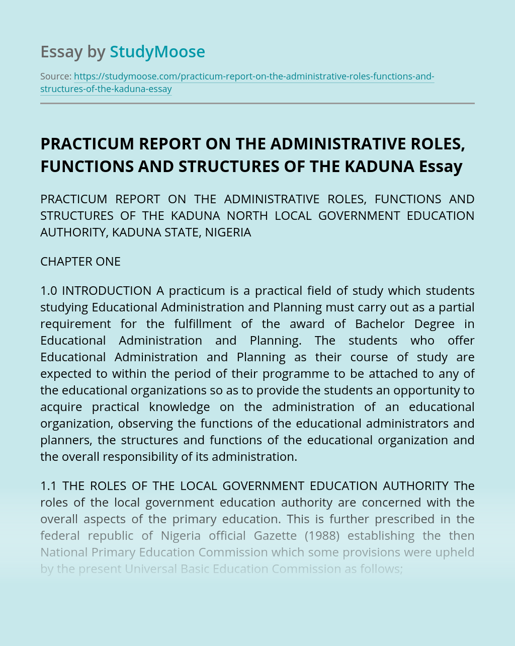 The Kaduna North Local Government Education Authority, Kaduna State, Nigeria