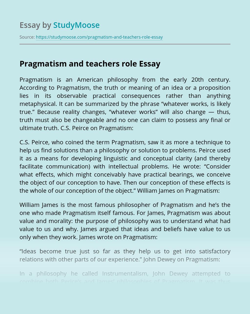 Pragmatism and teachers role