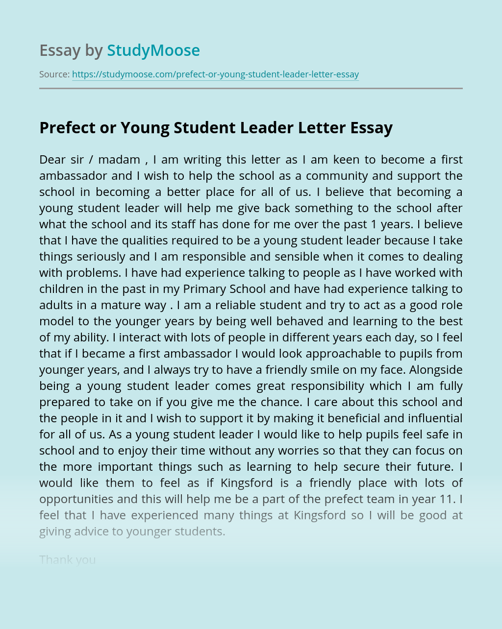Prefect or Young Student Leader Letter